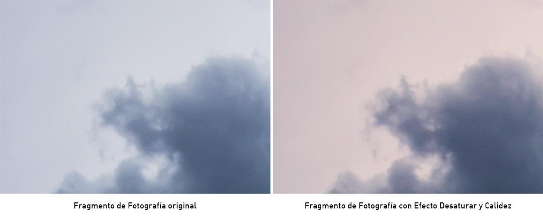 accion de photoshop con desaturado y filtro de fotografía cálido