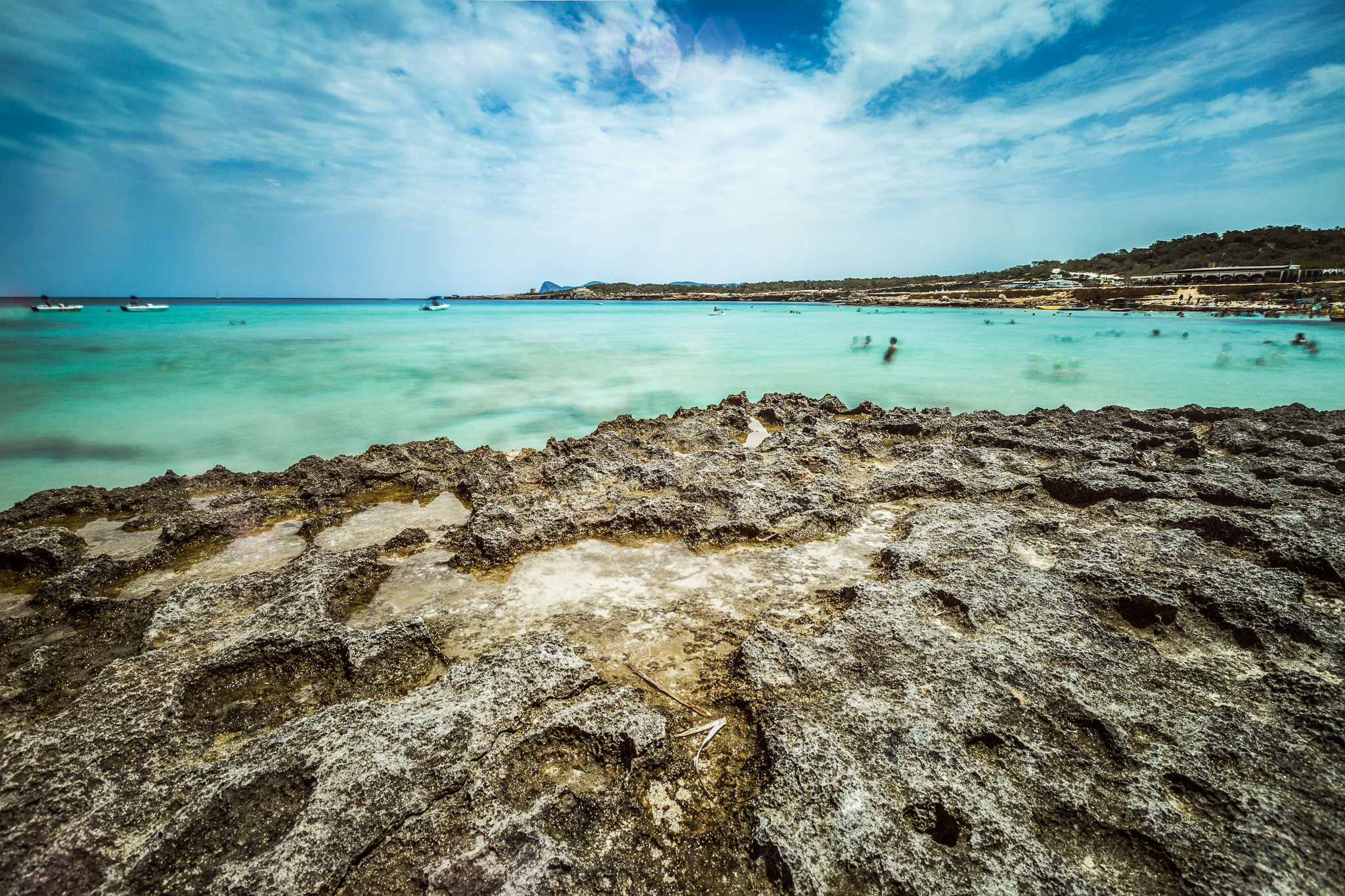 Fotografía de paisaje en Cala Comte, Ibiza. Fotografía de larga exposición.